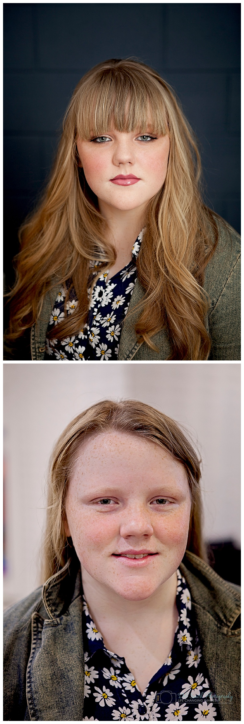 The transformation after the makeover portrait session